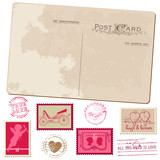 Vintage Postcard and Postage Stamps - for wedding design