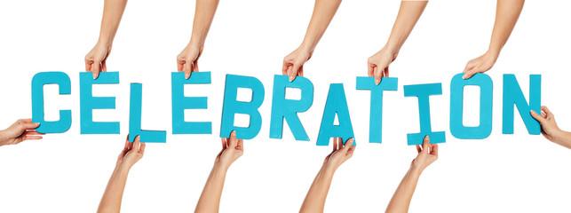 Celebration lettering on white