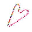 Heart formed of colorful Christmas candy canes.