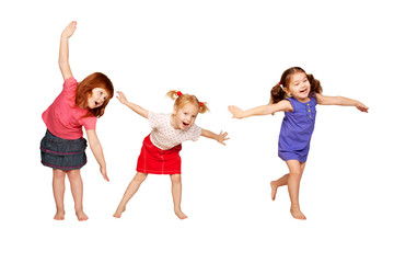 Happy little children dancing. Joyful party.