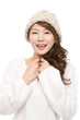 Beautiful winter woman on white background