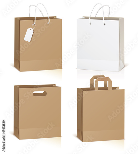Empty shopping bag isolated on white background, vector
