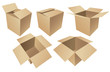 Cardboard boxes isolated on white background, vector