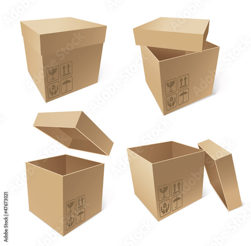 Collection of cardboard boxes, vector illustration