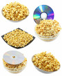 Collection (set) of caramel popcorn. Isolated