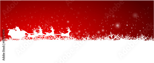 Red Christmas Background with rendeer