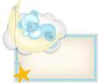 Baby boy label teddy bear sleeping on a moon