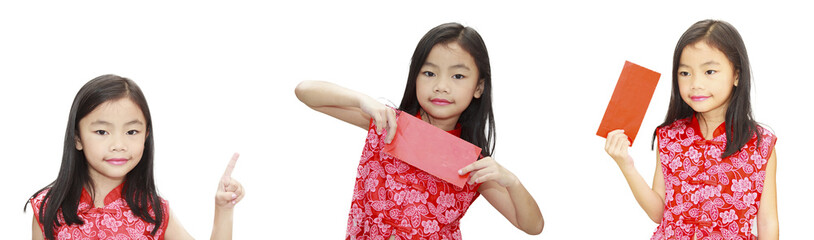 asian girl holding red packet,chinese new year theme