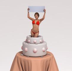 Mujer saliendo de un pastel, con un cartel en sus manos