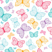 Floral butterflies vector seamless pattern  with hand