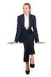 Woman businesswoman sitting on virtual wall
