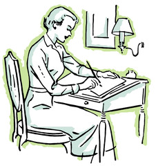 line drawing of a woman at a writing desk