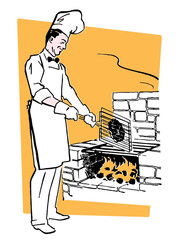 chef cooking on an barbeque fire