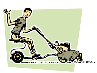 young boy waving happily from a ride on mower