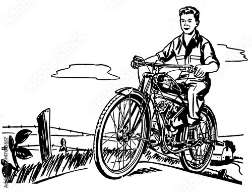 a young boy and his motorbike