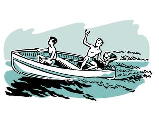 young boys enjoying a boat ride
