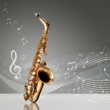 Fototapety Saxophone with musical notes