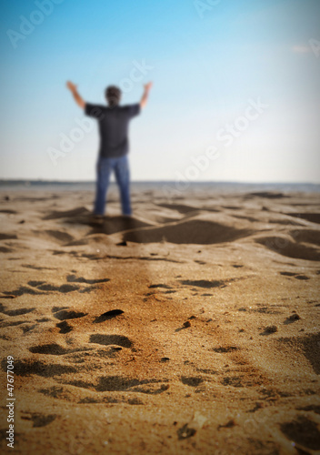 Happy Freedom Man Standing on Beach