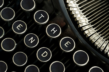 The End Words Spelled on Vintage Typewriter Keys