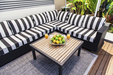 Outdoor lounge in summertime