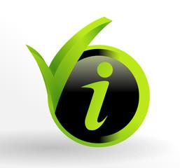 icône information sur bouton vert et noir