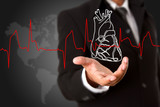 Business man  holding Heart and heart beats cardiogram