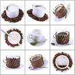 Collage of various coffee cups with coffee.