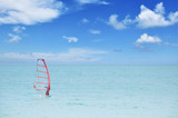 Unrecognizable person practicing windsurf poster