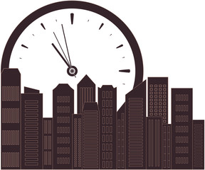 urban background with clock and place for text