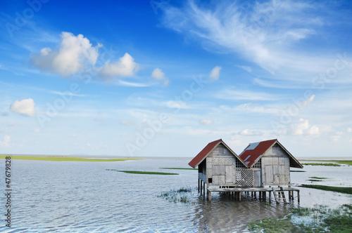 Hut on a bog in thailand