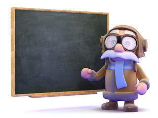 Pilot teachs flying at the blackboard