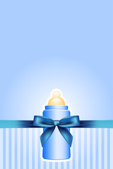 Vector background with baby bottle and bow