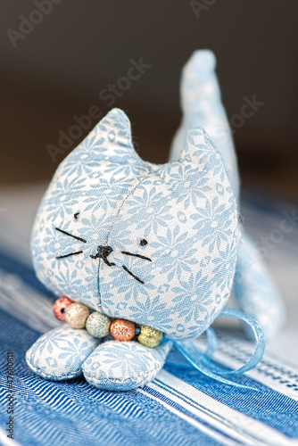 Homemade toy cat front on cloth