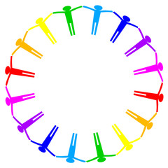 Vector colorful icon of people in circle