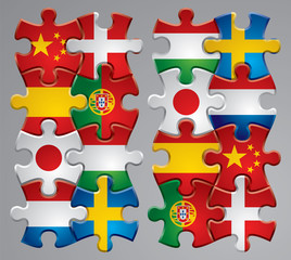 Puzzle flag icons 2