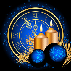 Vector blue and gold christmas background