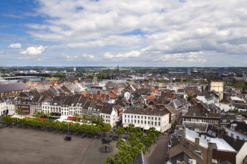 view on Maastricht city from top of Red tower