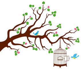 Tree Branch with bird cage and two birds
