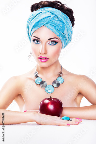 Attractive Woman with Apple - Healthy Wholesome Eating Concept
