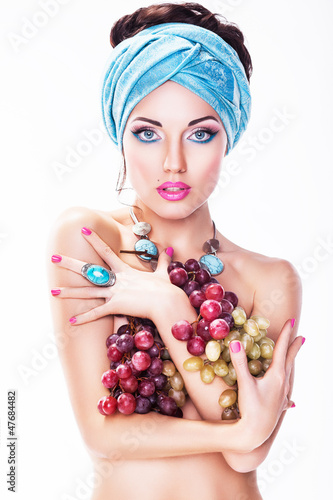Woman with Grapes Wine isolated on White background