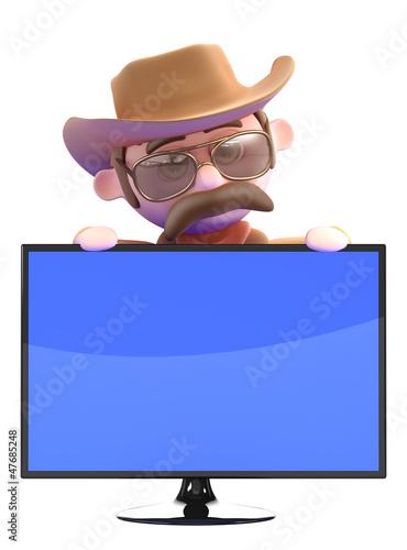 Cowboy hides behind flatscreen television monitor
