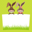Easter Bunnies Boy & Girl Label Meadow