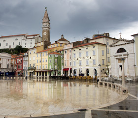 Tartini Square, the largest and main square in the town of Piran