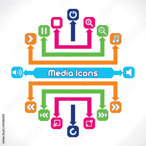 Set of Media/Music Icons Stock Vector