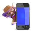 Cowboy leans out from behind smartphone