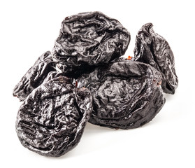 Prunes (dried plum fruits) isolated