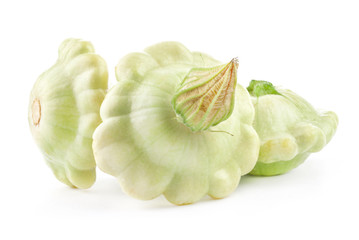 Three types of Patty pan Squash isolated on white background