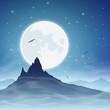 A Mountain with Moon and Night Sky