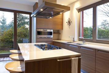 modern kitchen, nobody inside, house
