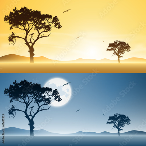 Two Landscapes Day and Night with Moon and Sunset, Sunrise